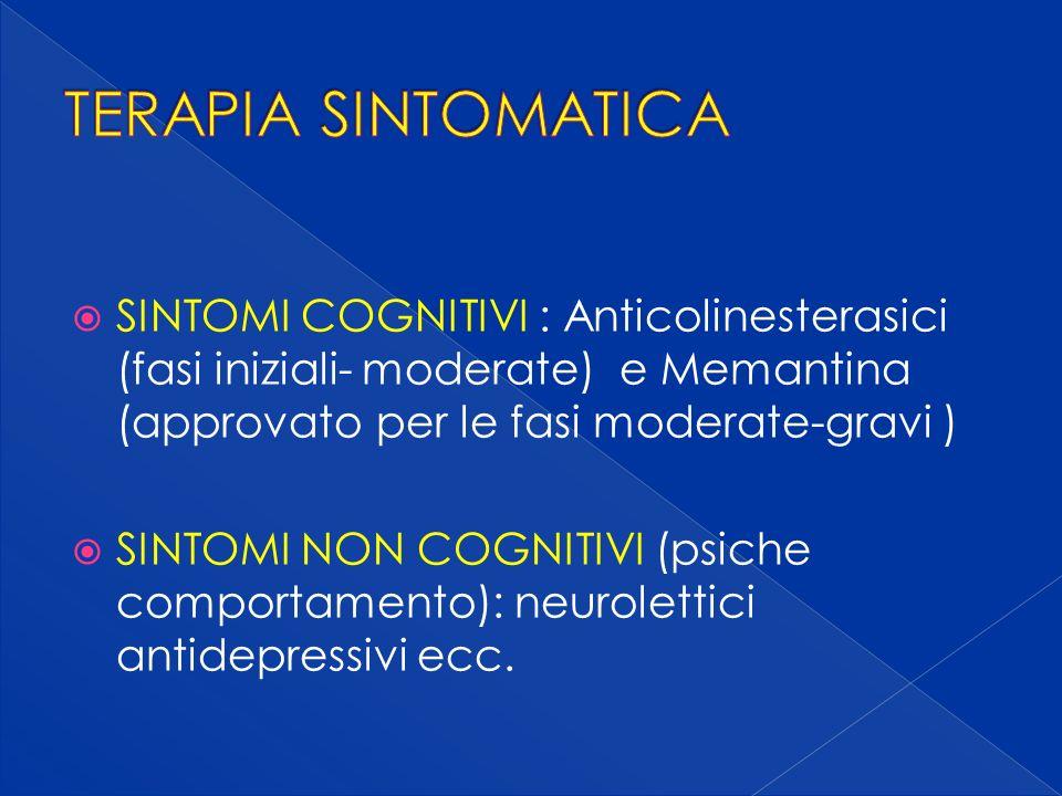 SINTOMI COGNITIVI : Anticolinesterasici (fasi iniziali- moderate) e Memantina (approvato per le fasi moderate-gravi ) SINTOMI NON COGNITIVI (psiche comportamento): neurolettici antidepressivi ecc.
