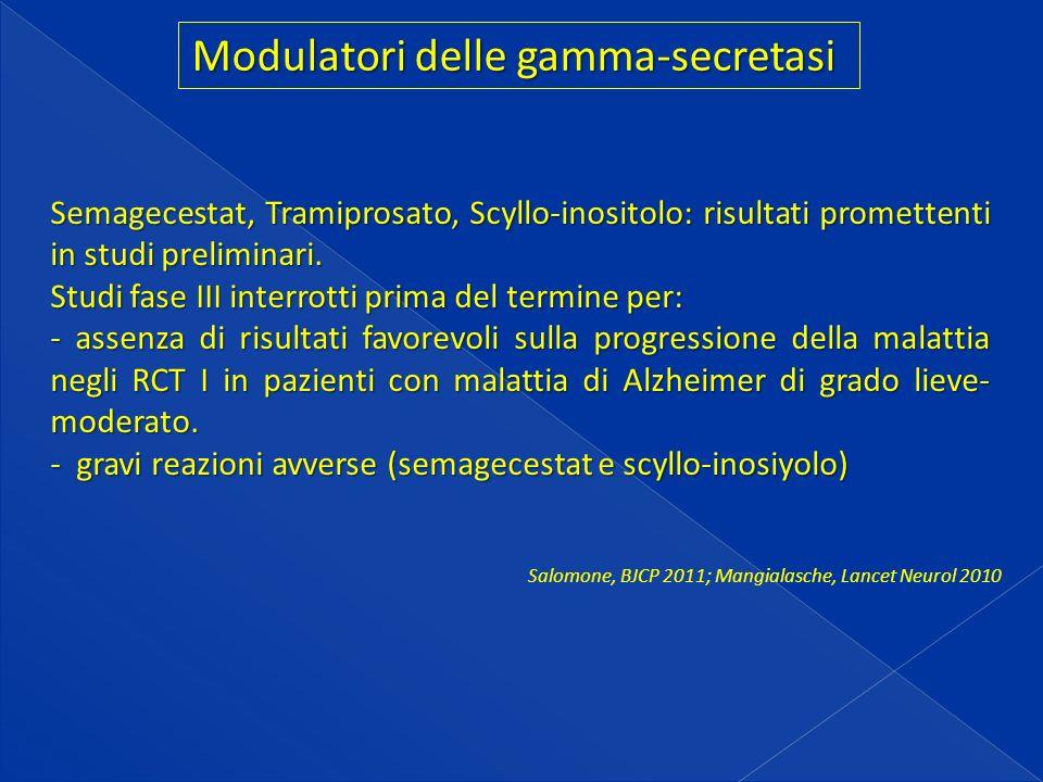 Modulatori delle gamma-secretasi Semagecestat, Tramiprosato, Scyllo-inositolo: risultati promettenti in studi preliminari.