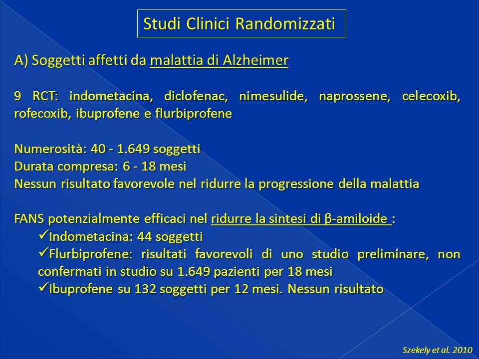 Studi Clinici Randomizzati A) Soggetti affetti da malattia di Alzheimer 9 RCT: indometacina, diclofenac, nimesulide, naprossene, celecoxib, rofecoxib, ibuprofene e flurbiprofene Numerosità: 40 - 1.649 soggetti Durata compresa: 6 - 18 mesi Nessun risultato favorevole nel ridurre la progressione della malattia FANS potenzialmente efficaci nel ridurre la sintesi di β-amiloide : Indometacina: 44 soggetti Indometacina: 44 soggetti Flurbiprofene: risultati favorevoli di uno studio preliminare, non confermati in studio su 1.649 pazienti per 18 mesi Flurbiprofene: risultati favorevoli di uno studio preliminare, non confermati in studio su 1.649 pazienti per 18 mesi Ibuprofene su 132 soggetti per 12 mesi.