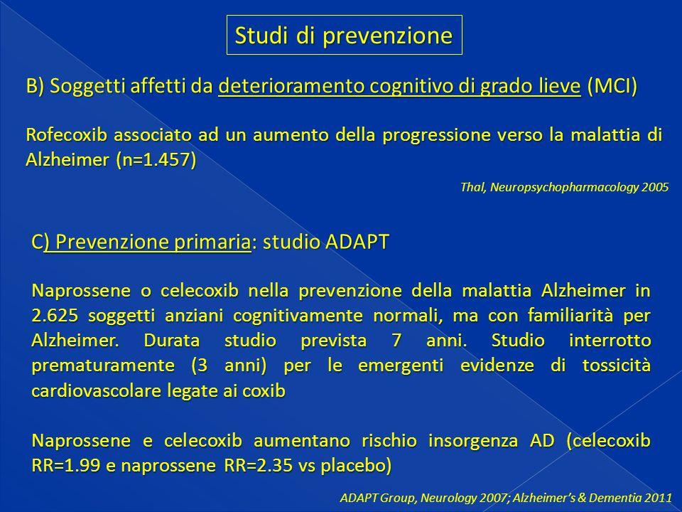 Studi di prevenzione B) Soggetti affetti da deterioramento cognitivo di grado lieve (MCI) Rofecoxib associato ad un aumento della progressione verso la malattia di Alzheimer (n=1.457) Thal, Neuropsychopharmacology 2005 C) Prevenzione primaria: studio ADAPT Naprossene o celecoxib nella prevenzione della malattia Alzheimer in 2.625 soggetti anziani cognitivamente normali, ma con familiarità per Alzheimer.