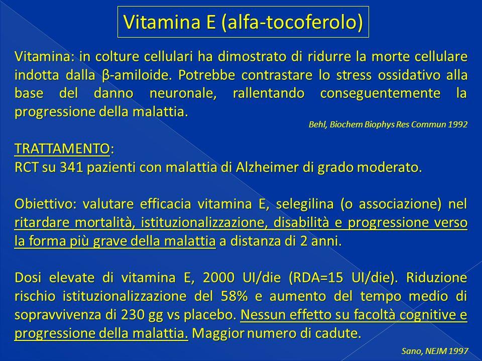 Vitamina: in colture cellulari ha dimostrato di ridurre la morte cellulare indotta dalla β-amiloide.