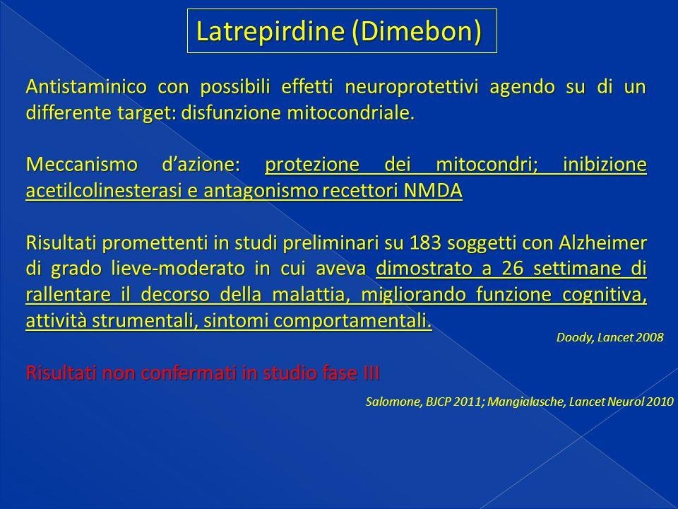 Latrepirdine (Dimebon) Antistaminico con possibili effetti neuroprotettivi agendo su di un differente target: disfunzione mitocondriale.