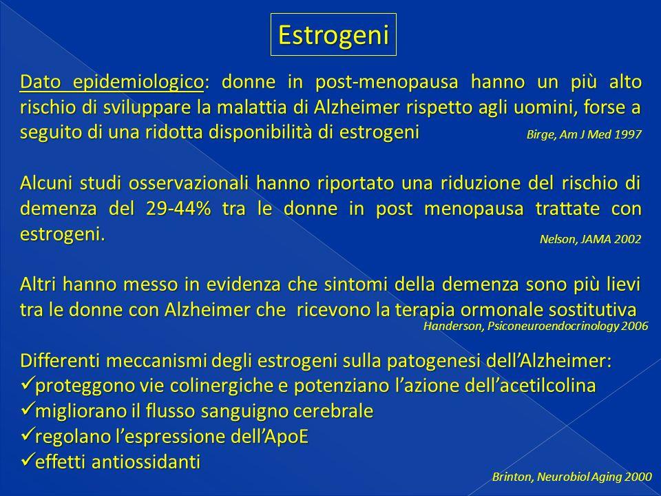 Estrogeni Dato epidemiologico: donne in post-menopausa hanno un più alto rischio di sviluppare la malattia di Alzheimer rispetto agli uomini, forse a seguito di una ridotta disponibilità di estrogeni Alcuni studi osservazionali hanno riportato una riduzione del rischio di demenza del 29-44% tra le donne in post menopausa trattate con estrogeni.
