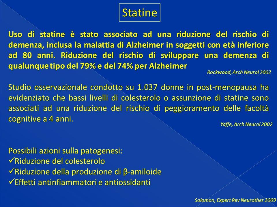 Statine Uso di statine è stato associato ad una riduzione del rischio di demenza, inclusa la malattia di Alzheimer in soggetti con età inferiore ad 80 anni.