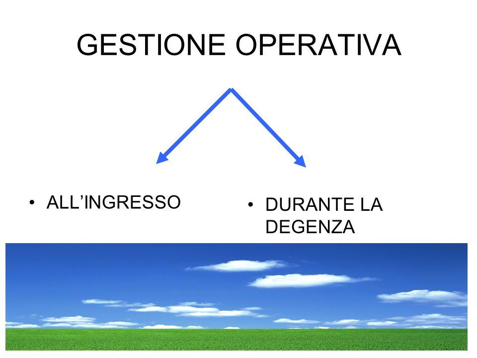 GESTIONE OPERATIVA ALLINGRESSO DURANTE LA DEGENZA