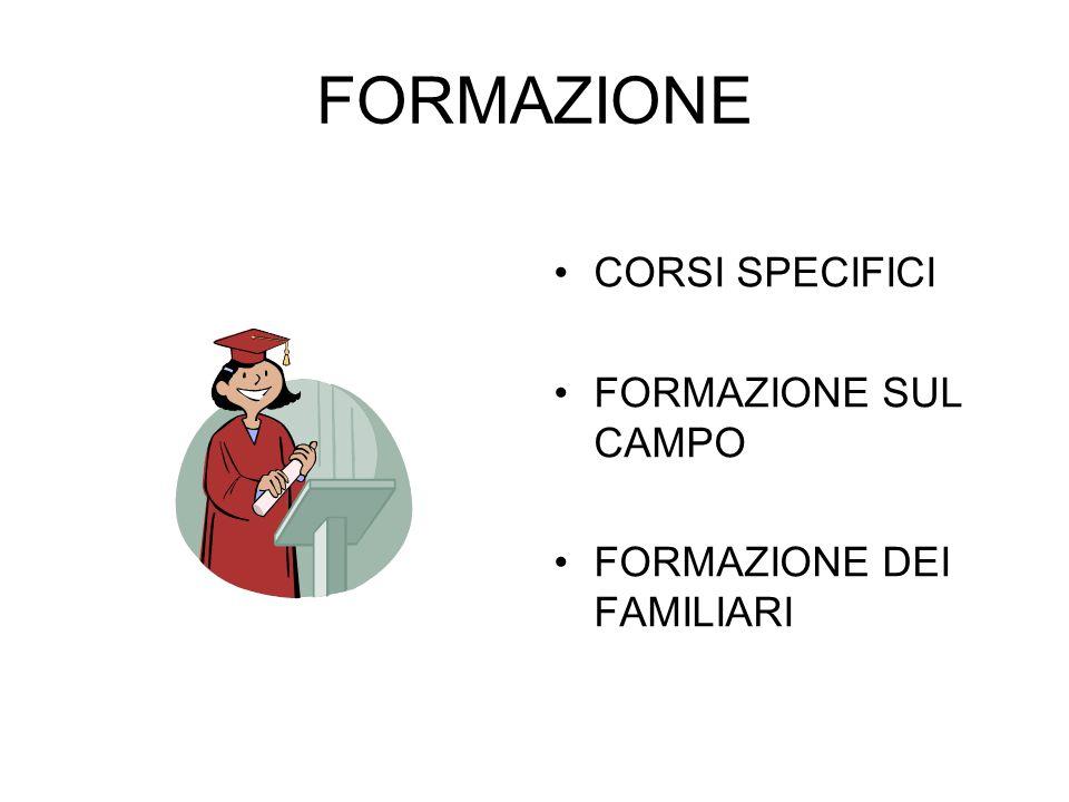 FORMAZIONE CORSI SPECIFICI FORMAZIONE SUL CAMPO FORMAZIONE DEI FAMILIARI