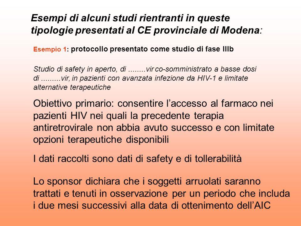 Esempio 1: protocollo presentato come studio di fase IIIb Studio di safety in aperto, di........vir co-somministrato a basse dosi di.........vir, in p