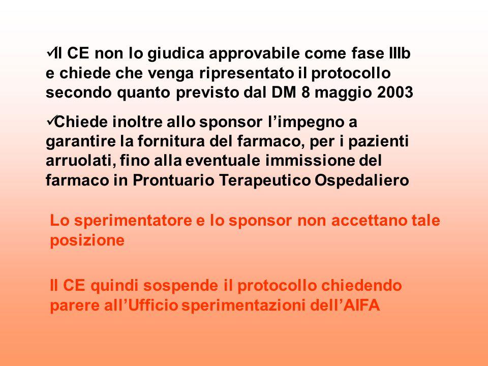 Il CE non lo giudica approvabile come fase IIIb e chiede che venga ripresentato il protocollo secondo quanto previsto dal DM 8 maggio 2003 Chiede inol
