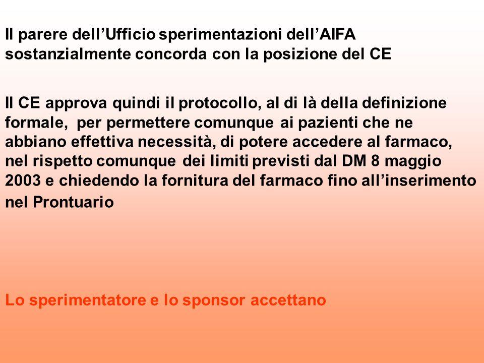 Il parere dellUfficio sperimentazioni dellAIFA sostanzialmente concorda con la posizione del CE Il CE approva quindi il protocollo, al di là della def