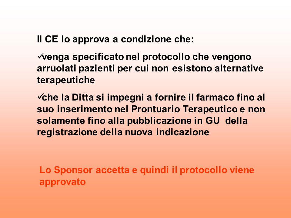 Il CE lo approva a condizione che: venga specificato nel protocollo che vengono arruolati pazienti per cui non esistono alternative terapeutiche che l