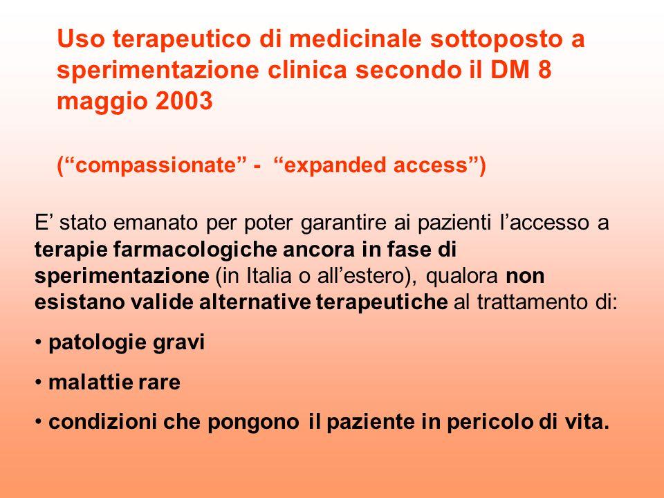 Uso terapeutico di medicinale sottoposto a sperimentazione clinica secondo il DM 8 maggio 2003 (compassionate - expanded access) E stato emanato per p