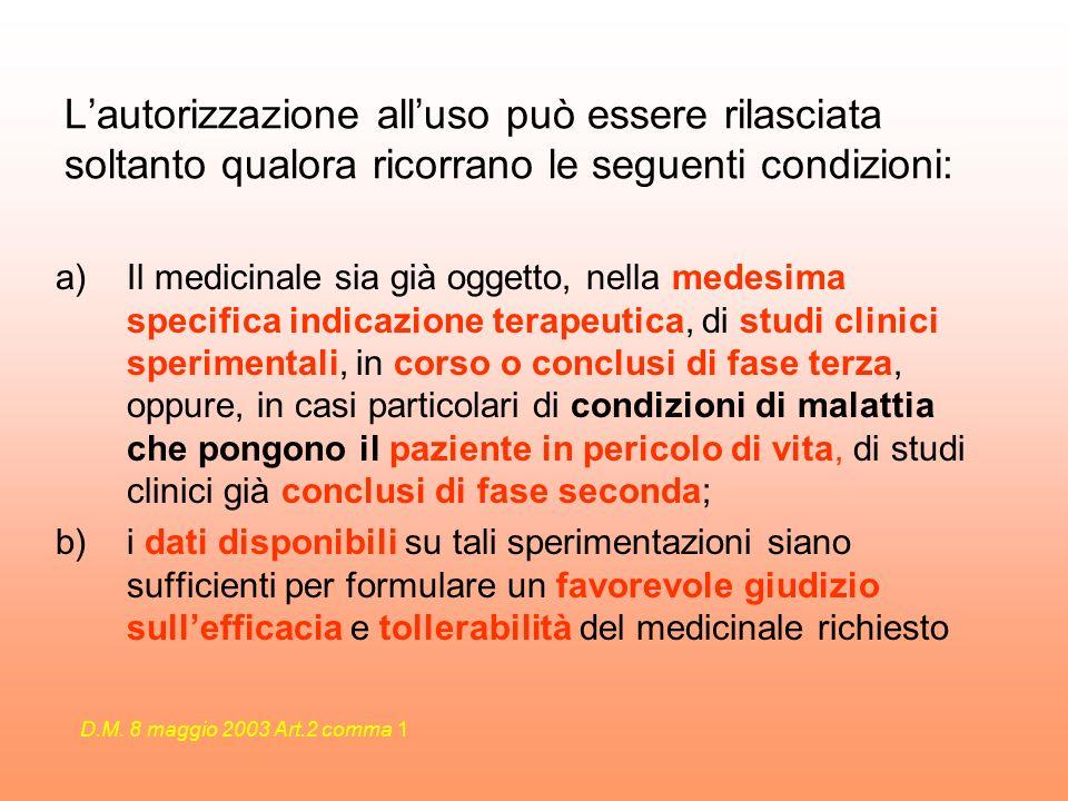 Lautorizzazione alluso può essere rilasciata soltanto qualora ricorrano le seguenti condizioni: a)Il medicinale sia già oggetto, nella medesima specif