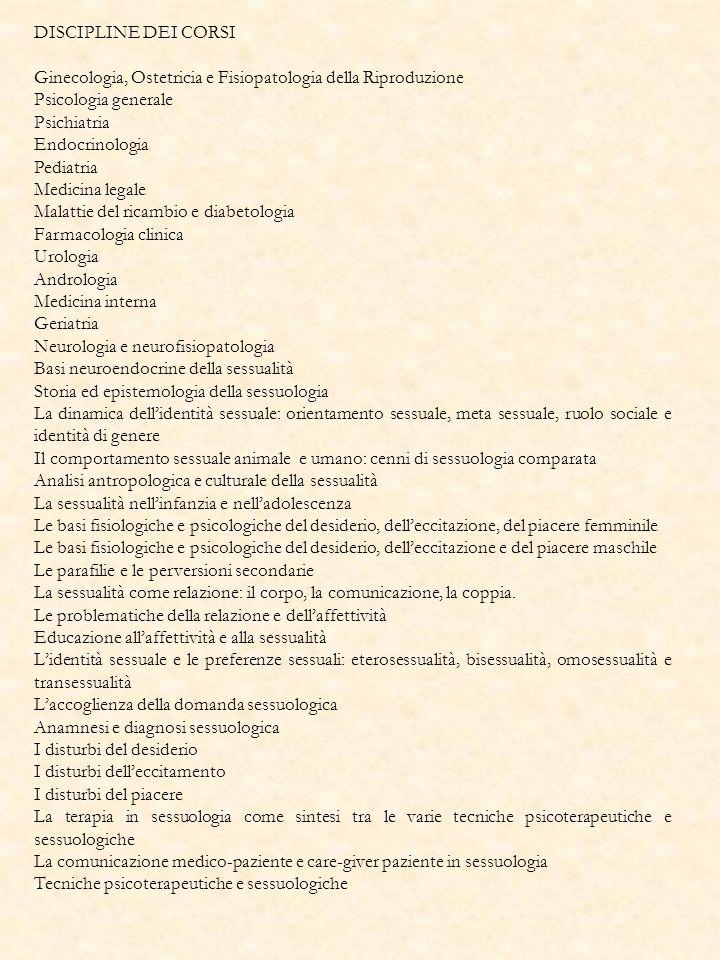 DISCIPLINE DEI CORSI Ginecologia, Ostetricia e Fisiopatologia della Riproduzione Psicologia generale Psichiatria Endocrinologia Pediatria Medicina leg