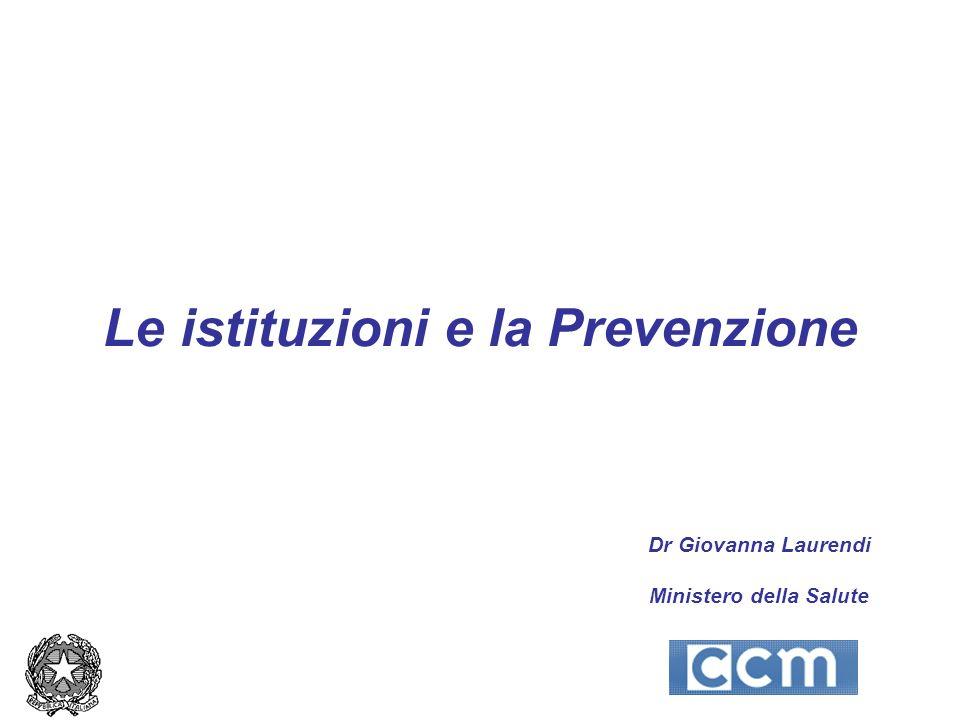 Le istituzioni e la Prevenzione Dr Giovanna Laurendi Ministero della Salute