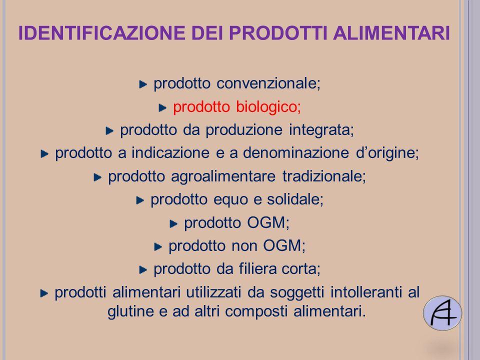 IDENTIFICAZIONE DEI PRODOTTI ALIMENTARI prodotto convenzionale; prodotto biologico; prodotto da produzione integrata; prodotto a indicazione e a denom