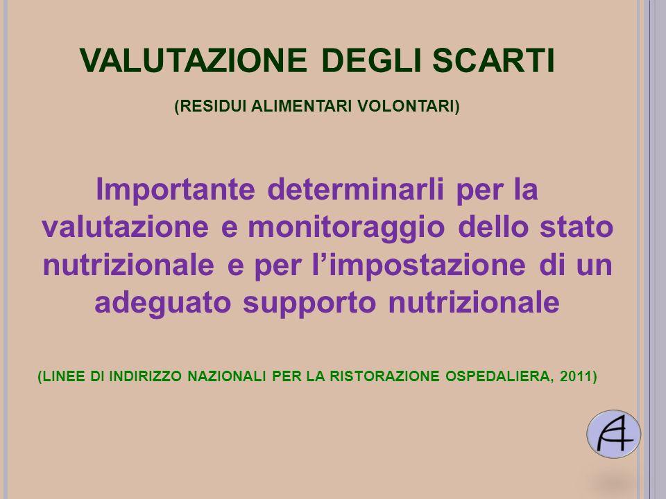 VALUTAZIONE DEGLI SCARTI (RESIDUI ALIMENTARI VOLONTARI) Importante determinarli per la valutazione e monitoraggio dello stato nutrizionale e per limpo