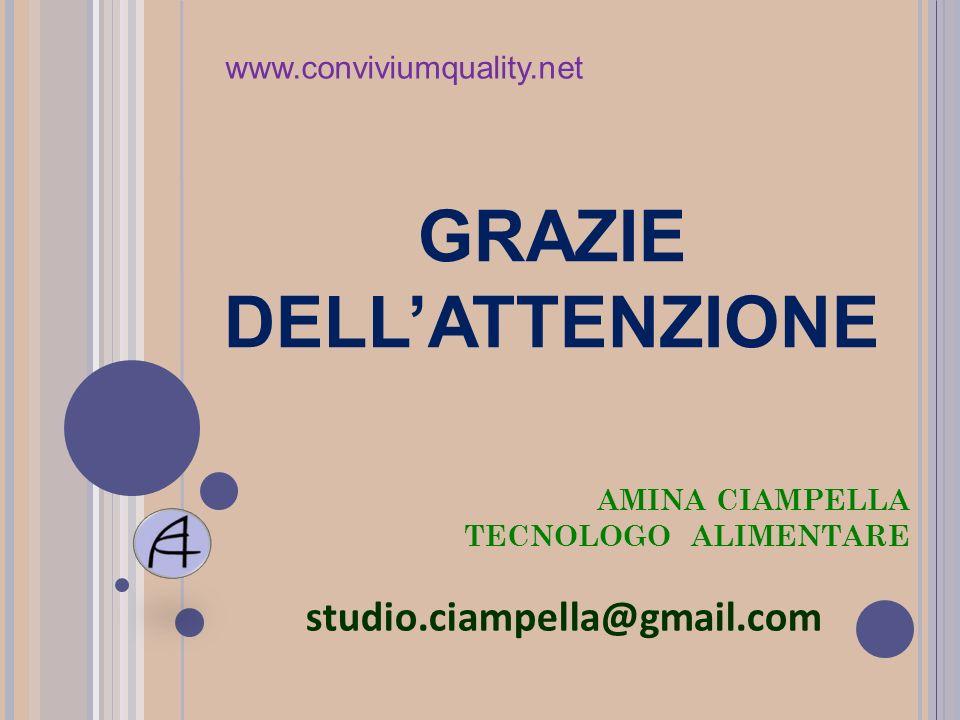 AMINA CIAMPELLA TECNOLOGO ALIMENTARE studio.ciampella@gmail.com GRAZIE DELLATTENZIONE www.conviviumquality.net