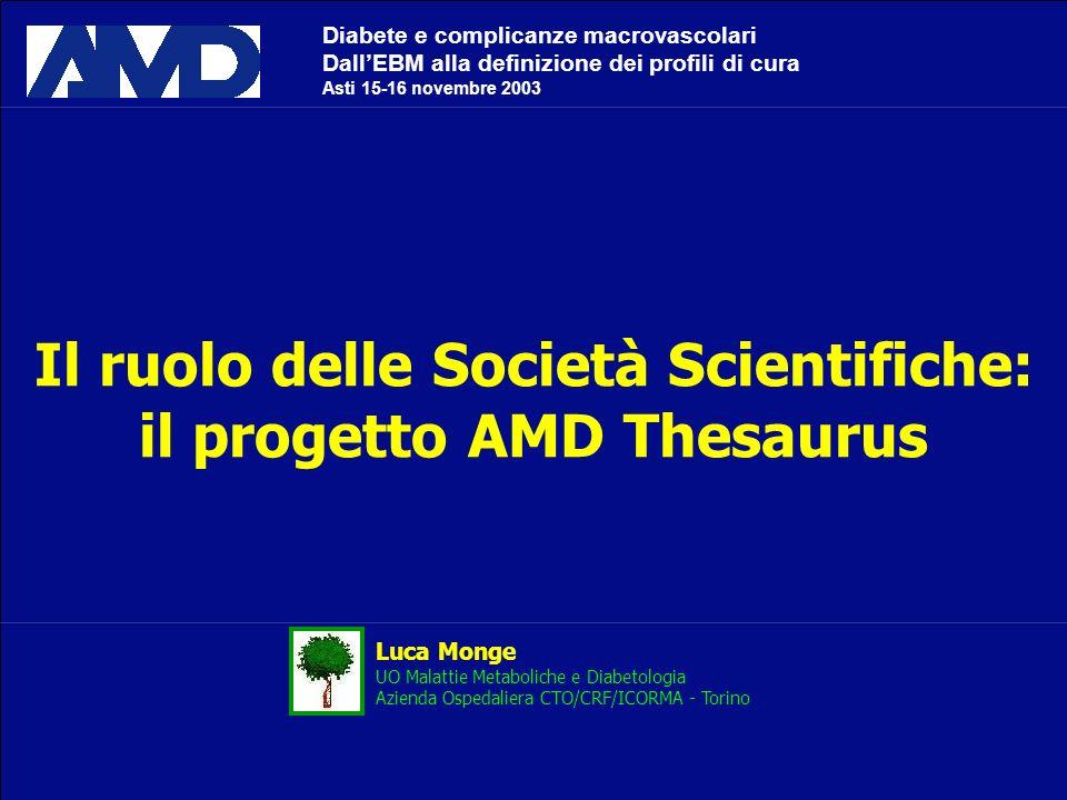 Il ruolo delle Società Scientifiche: il progetto AMD Thesaurus Luca Monge UO Malattie Metaboliche e Diabetologia Azienda Ospedaliera CTO/CRF/ICORMA -