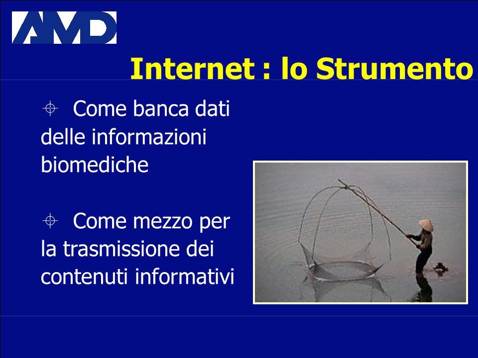 Internet : lo Strumento Come banca dati delle informazioni biomediche Come mezzo per la trasmissione dei contenuti informativi