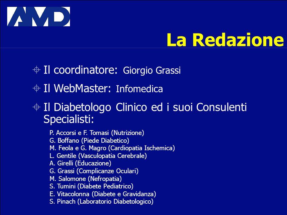 La Redazione Il coordinatore: Giorgio Grassi Il WebMaster: Infomedica Il Diabetologo Clinico ed i suoi Consulenti Specialisti: P. Accorsi e F. Tomasi