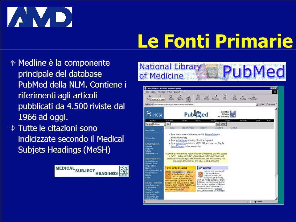 Le Fonti Primarie Medline è la componente principale del database PubMed della NLM. Contiene i riferimenti agli articoli pubblicati da 4.500 riviste d