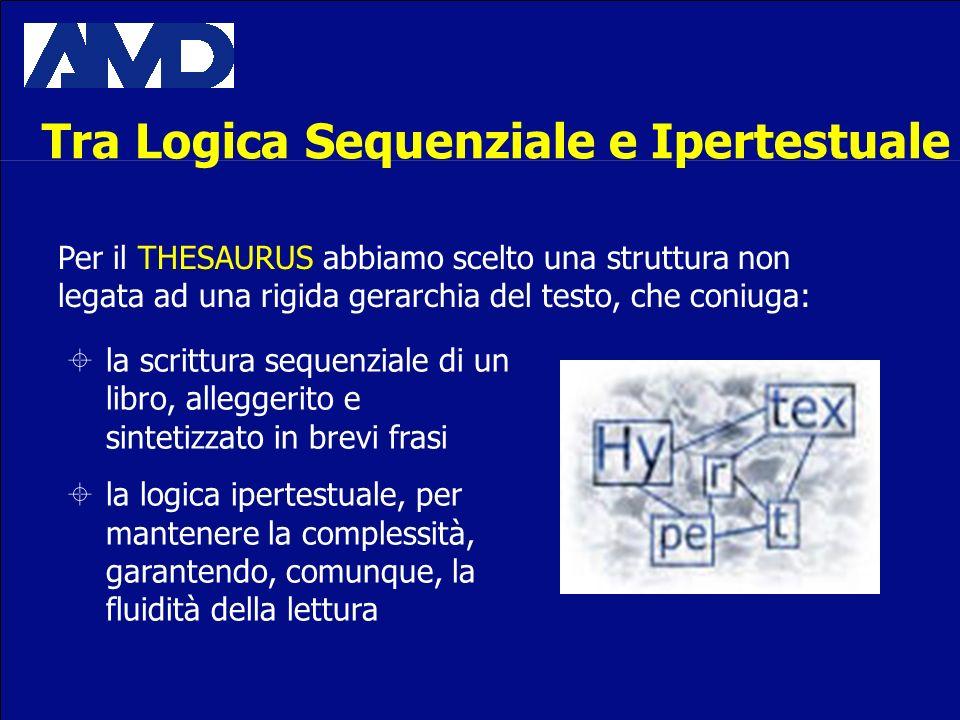 Per il THESAURUS abbiamo scelto una struttura non legata ad una rigida gerarchia del testo, che coniuga: la scrittura sequenziale di un libro, alleggerito e sintetizzato in brevi frasi la logica ipertestuale, per mantenere la complessità, garantendo, comunque, la fluidità della lettura Tra Logica Sequenziale e Ipertestuale