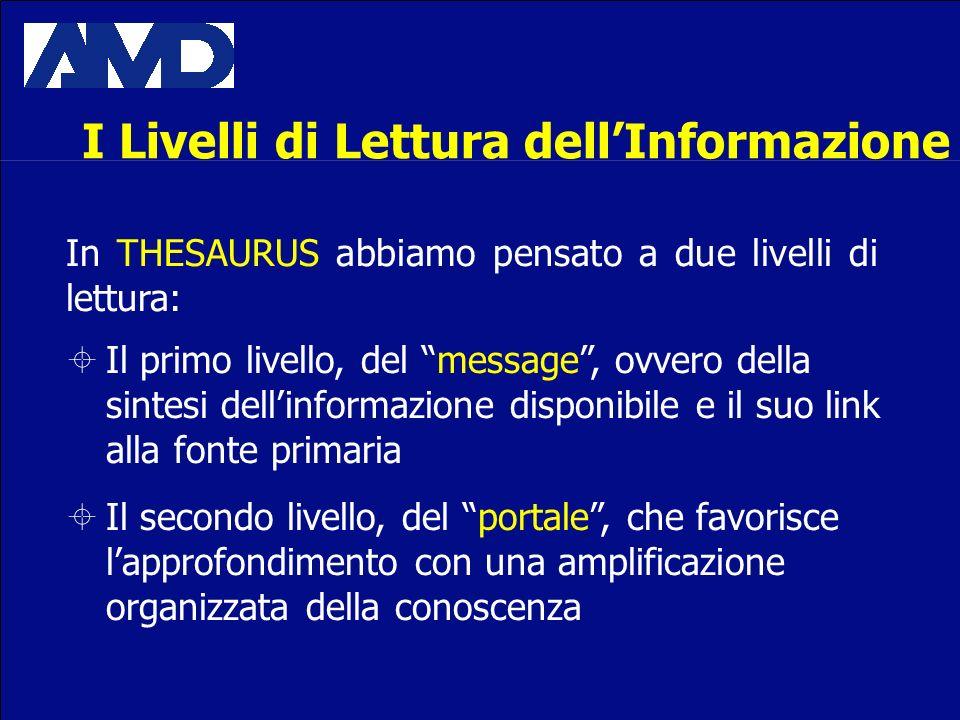 I Livelli di Lettura dellInformazione In THESAURUS abbiamo pensato a due livelli di lettura: Il primo livello, del message, ovvero della sintesi delli