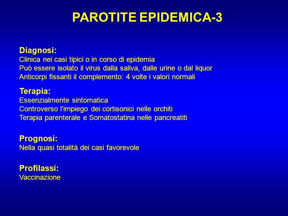 PAROTITE EPIDEMICA-3 Diagnosi: Clinica nei casi tipici o in corso di epidemia Può essere isolato il virus dalla saliva, dalle urine o dal liquor Antic