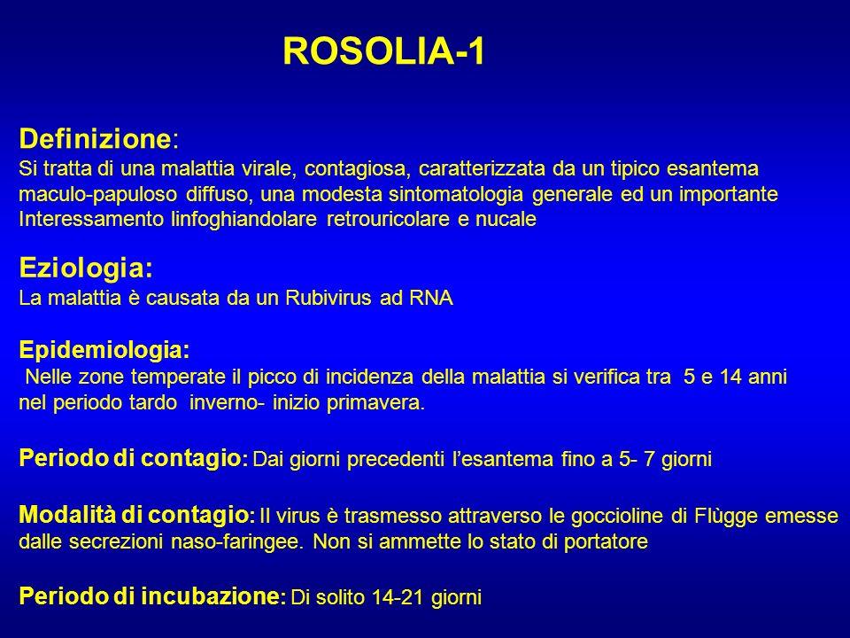 ROSOLIA-1 Definizione: Si tratta di una malattia virale, contagiosa, caratterizzata da un tipico esantema maculo-papuloso diffuso, una modesta sintoma