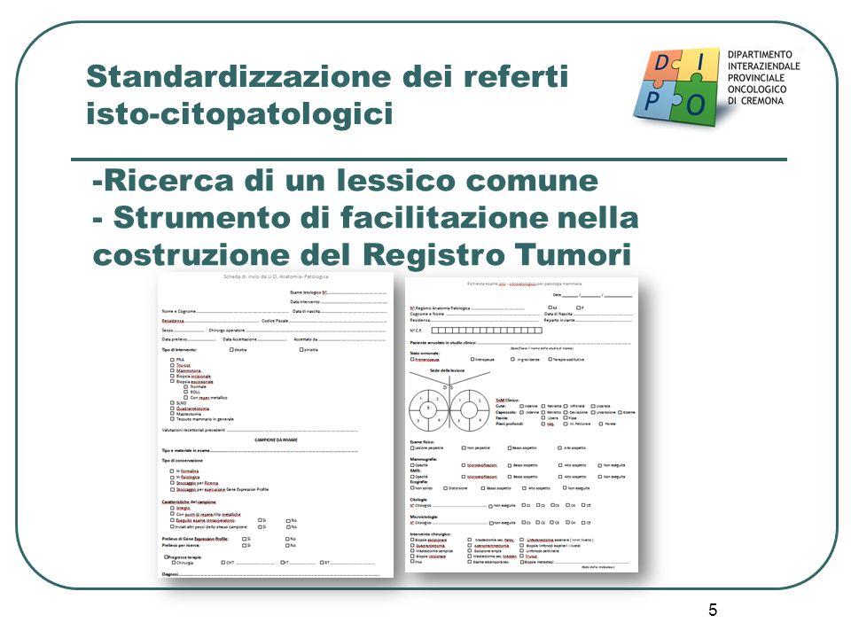 5 Standardizzazione dei referti isto-citopatologici -Ricerca di un lessico comune - Strumento di facilitazione nella costruzione del Registro Tumori