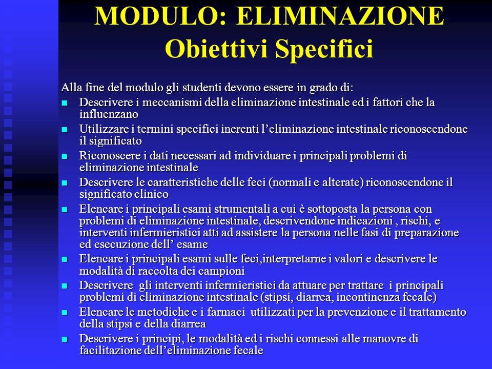 MODULO: ELIMINAZIONE Obiettivi Specifici Alla fine del modulo gli studenti devono essere in grado di: Descrivere i meccanismi della eliminazione intes