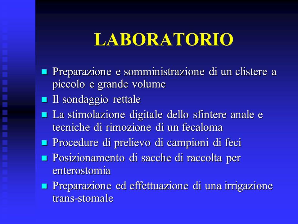 LABORATORIO Preparazione e somministrazione di un clistere a piccolo e grande volume Preparazione e somministrazione di un clistere a piccolo e grande