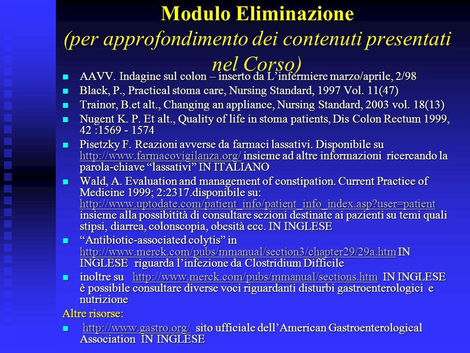 Modulo Eliminazione (per approfondimento dei contenuti presentati nel Corso) AAVV. Indagine sul colon – inserto da Linfermiere marzo/aprile, 2/98 AAVV