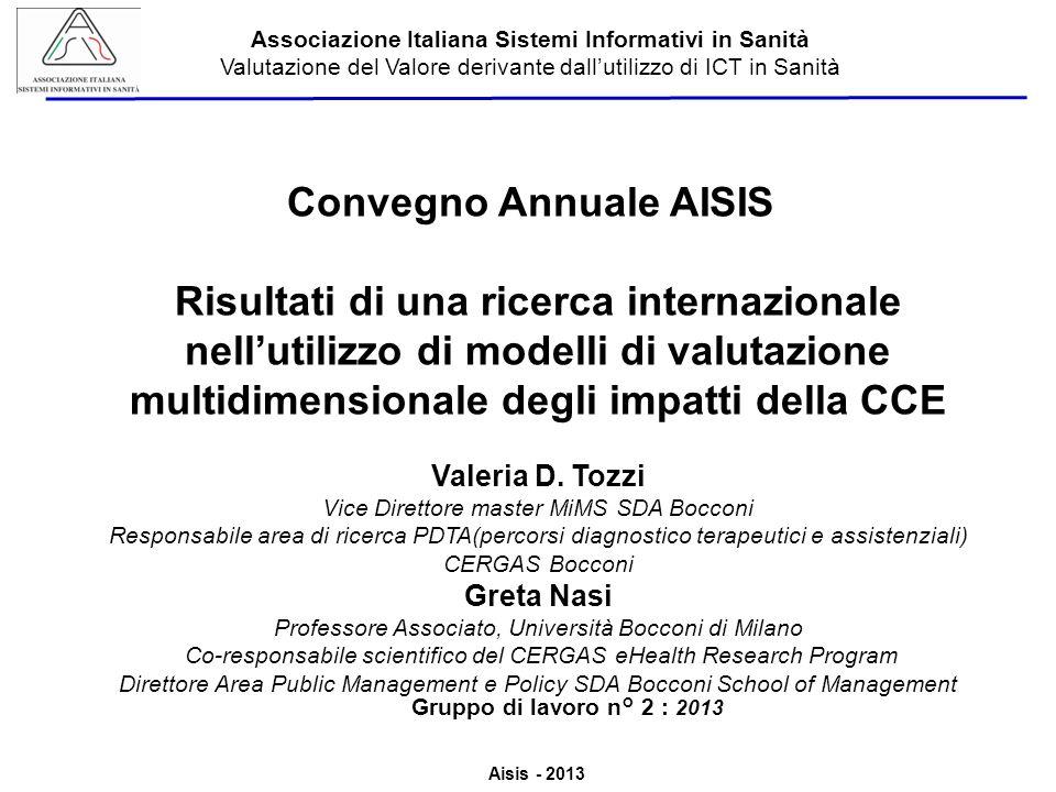 Aisis - 2013 Associazione Italiana Sistemi Informativi in Sanità Valutazione del Valore derivante dallutilizzo di ICT in Sanità Convegno Annuale AISIS Risultati di una ricerca internazionale nellutilizzo di modelli di valutazione multidimensionale degli impatti della CCE Valeria D.
