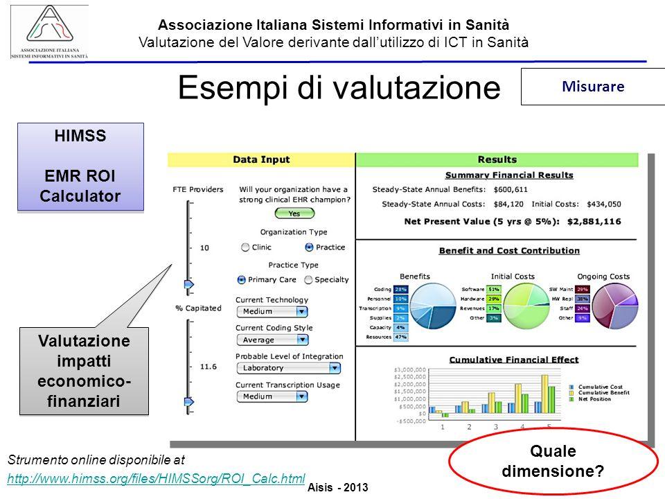 Aisis - 2013 Associazione Italiana Sistemi Informativi in Sanità Valutazione del Valore derivante dallutilizzo di ICT in Sanità Esempi di valutazione HIMSS EMR ROI Calculator HIMSS EMR ROI Calculator Quale dimensione.