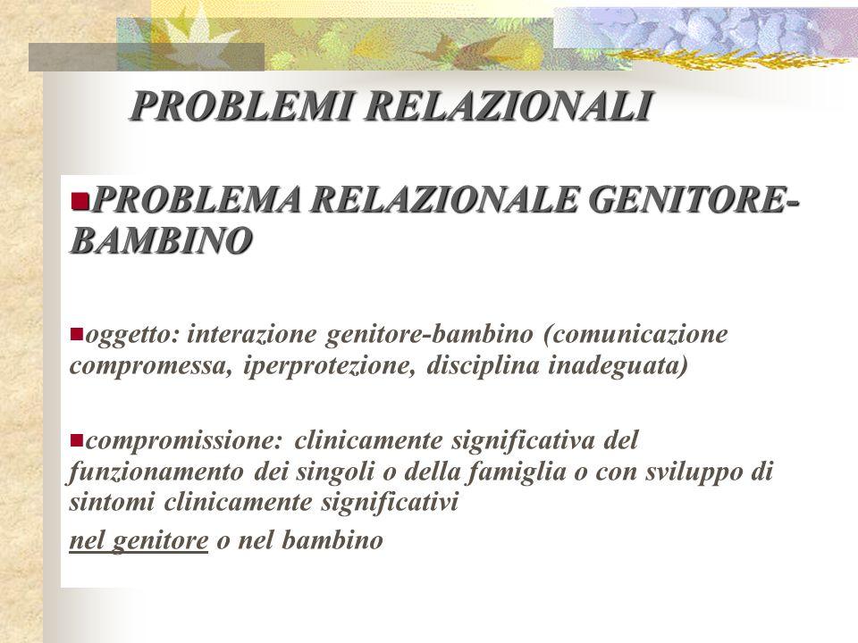 PROBLEMI RELAZIONALI PROBLEMA RELAZIONALE GENITORE- BAMBINO PROBLEMA RELAZIONALE GENITORE- BAMBINO oggetto: interazione genitore-bambino (comunicazion