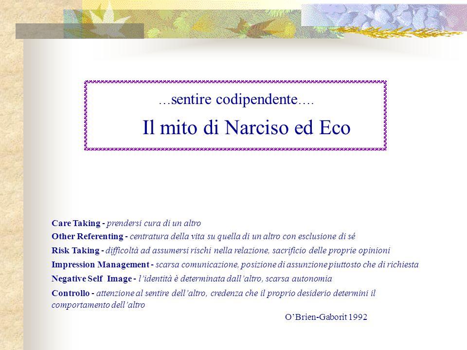 … sentire codipendente …. Il mito di Narciso ed Eco Care Taking - prendersi cura di un altro Other Referenting - centratura della vita su quella di un