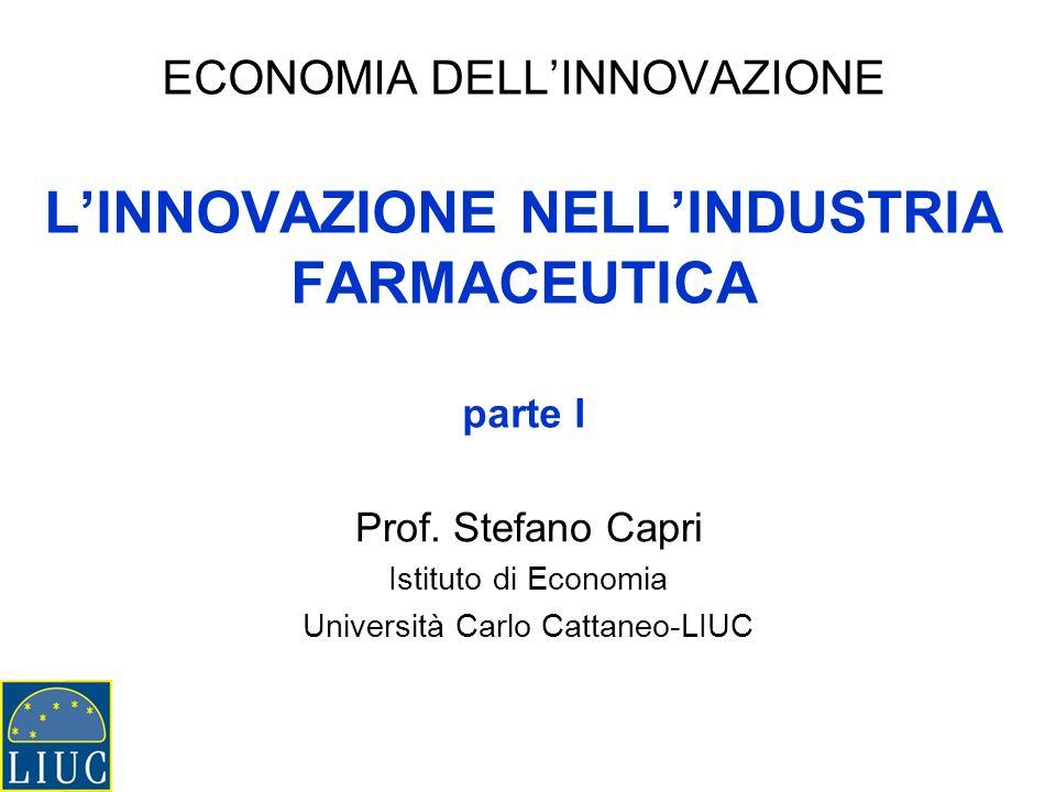 ECONOMIA DELLINNOVAZIONE LINNOVAZIONE NELLINDUSTRIA FARMACEUTICA parte I Prof. Stefano Capri Istituto di Economia Università Carlo Cattaneo-LIUC