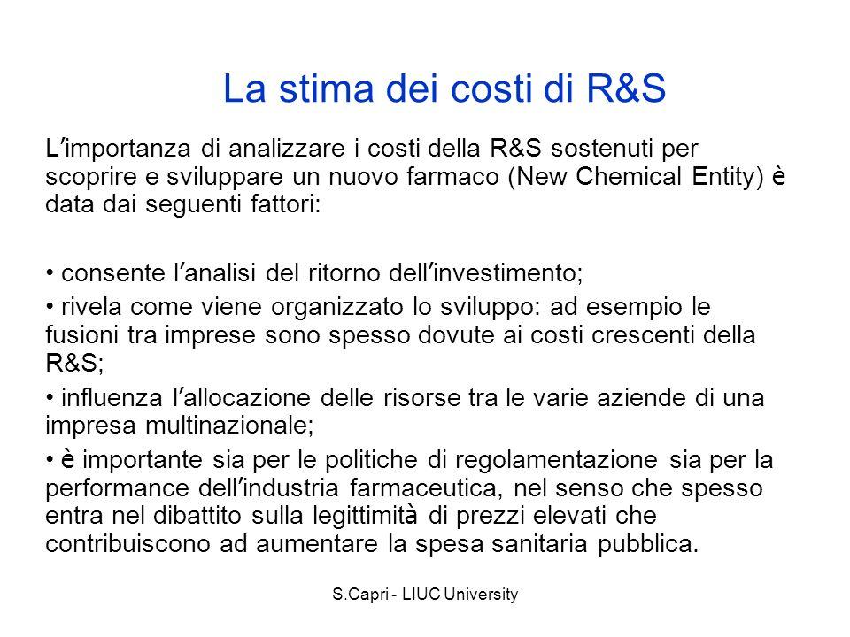 S.Capri - LIUC University La stima dei costi di R&S L importanza di analizzare i costi della R&S sostenuti per scoprire e sviluppare un nuovo farmaco
