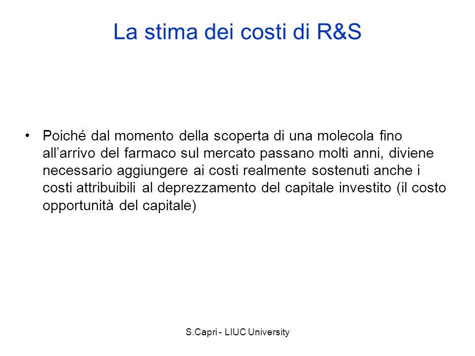 S.Capri - LIUC University Poiché dal momento della scoperta di una molecola fino allarrivo del farmaco sul mercato passano molti anni, diviene necessa