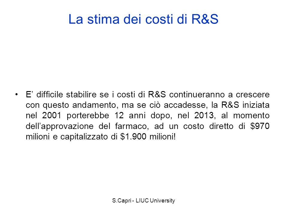 S.Capri - LIUC University E difficile stabilire se i costi di R&S continueranno a crescere con questo andamento, ma se ciò accadesse, la R&S iniziata