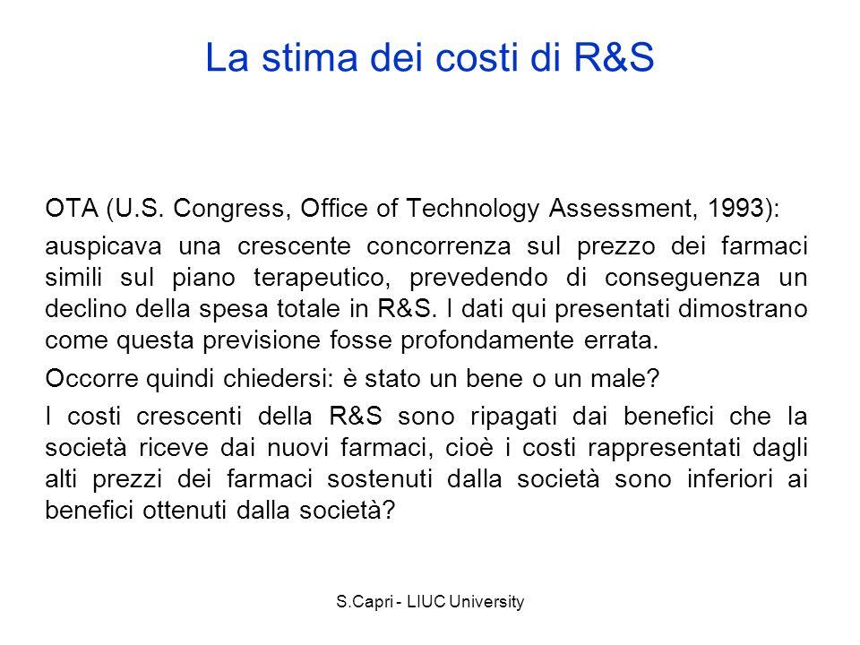 S.Capri - LIUC University OTA (U.S. Congress, Office of Technology Assessment, 1993): auspicava una crescente concorrenza sul prezzo dei farmaci simil