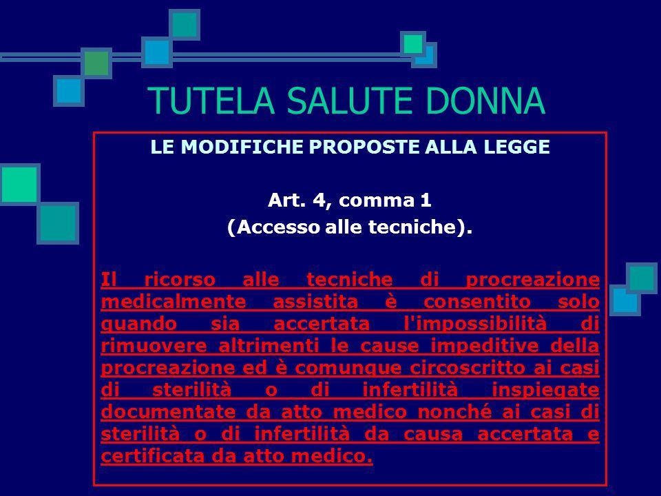 TUTELA SALUTE DONNA LE MODIFICHE PROPOSTE ALLA LEGGE Art. 1, comma 2 (Finalità). Il ricorso alla procreazione medicalmente assistita è consentito qual