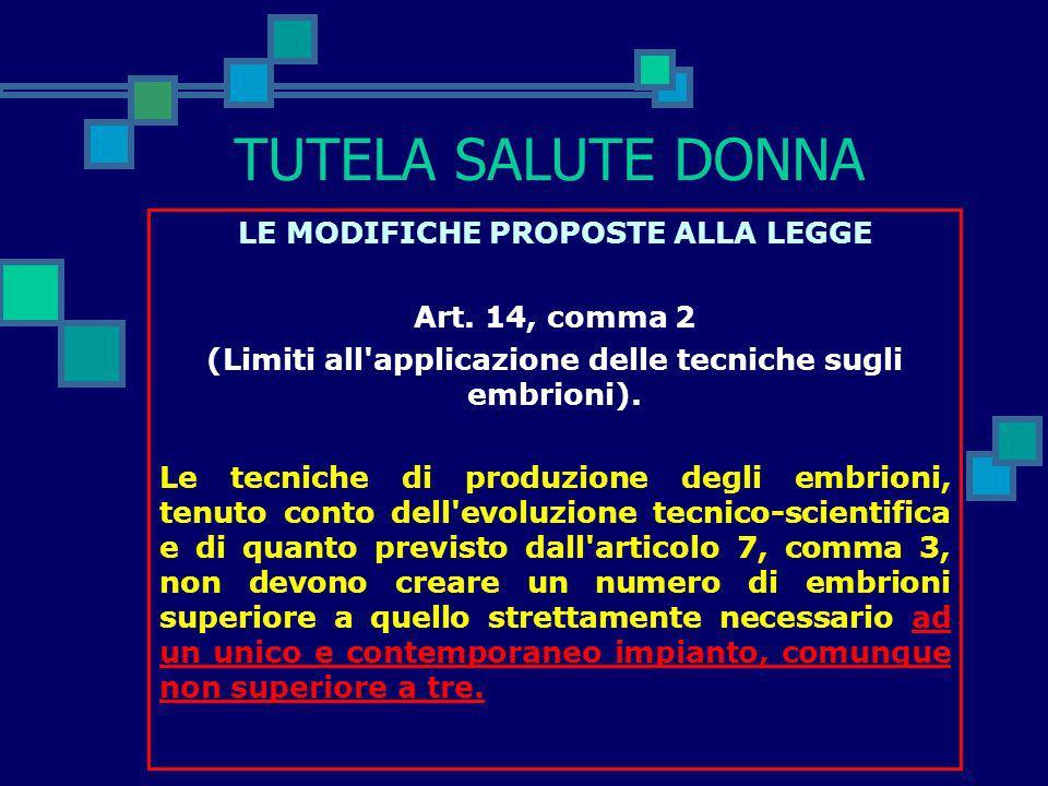 TUTELA SALUTE DONNA LE MODIFICHE PROPOSTE ALLA LEGGE Art. 13, comma 3, lettera b) (Sperimentazione sugli embrioni umani). Sono, comunque, vietati: b)