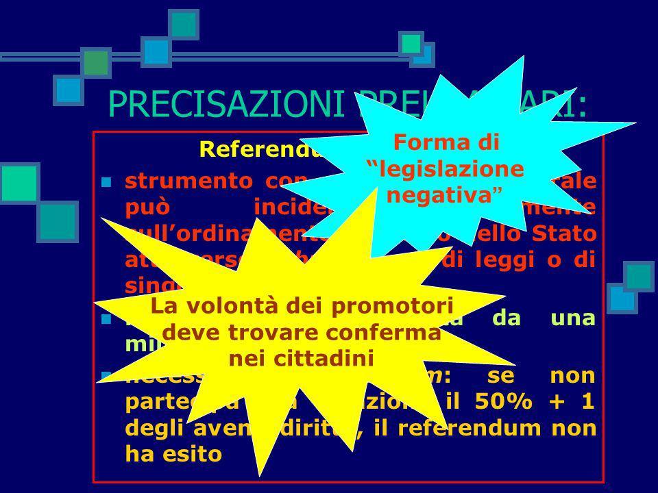PRECISAZIONI PRELIMINARI: Art. 75 Cost., comma 1 e 4 1. È indetto referendum popolare per deliberare l'abrogazione, totale o parziale, di una legge o