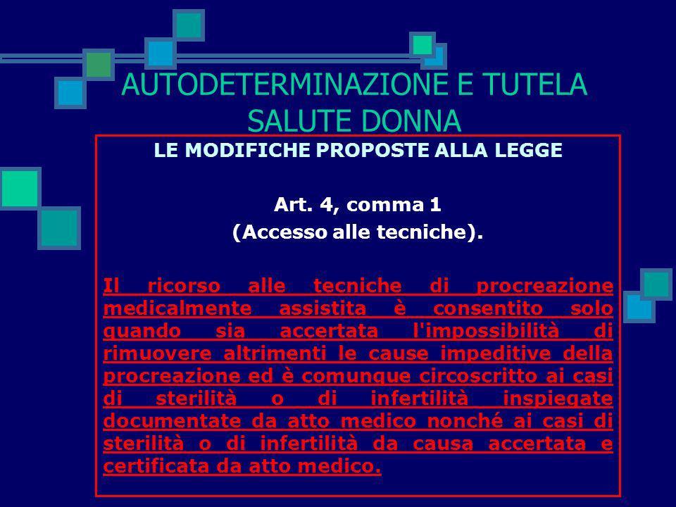 AUTODETERMINAZIONE E TUTELA SALUTE DONNA LE MODIFICHE PROPOSTE ALLA LEGGE Art. 1, comma 2 (Finalità). Il ricorso alla procreazione medicalmente assist