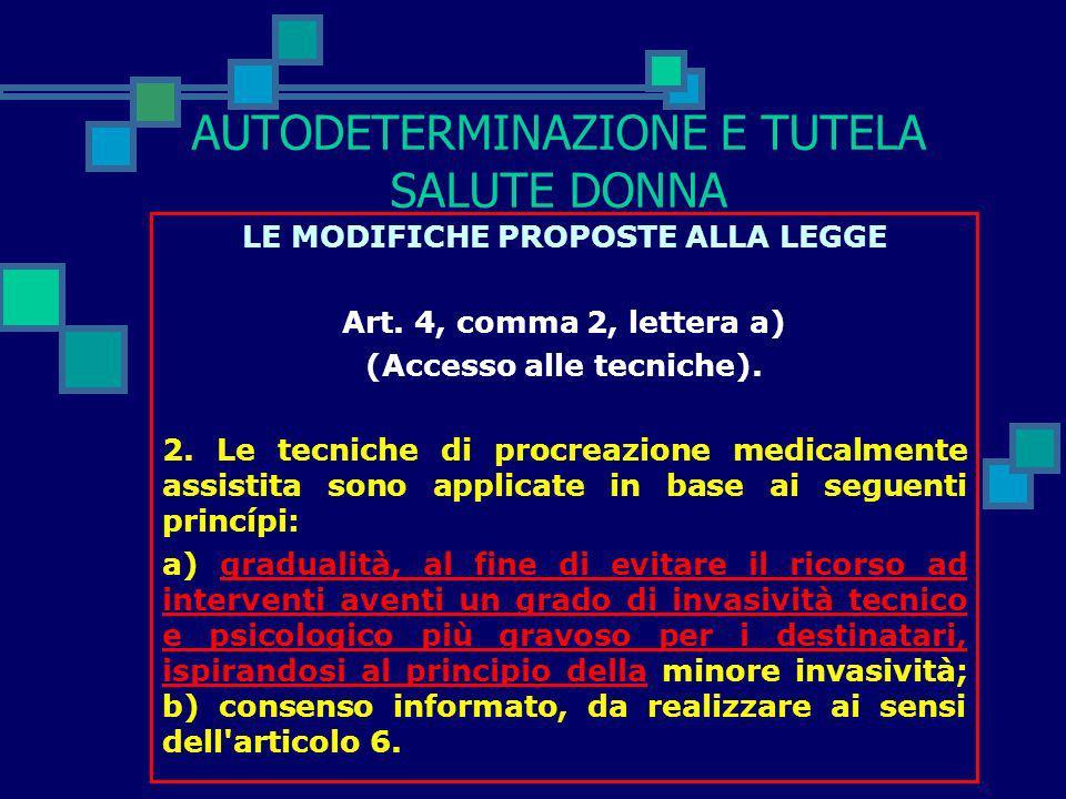 AUTODETERMINAZIONE E TUTELA SALUTE DONNA LE MODIFICHE PROPOSTE ALLA LEGGE Art. 4, comma 1 (Accesso alle tecniche). Il ricorso alle tecniche di procrea