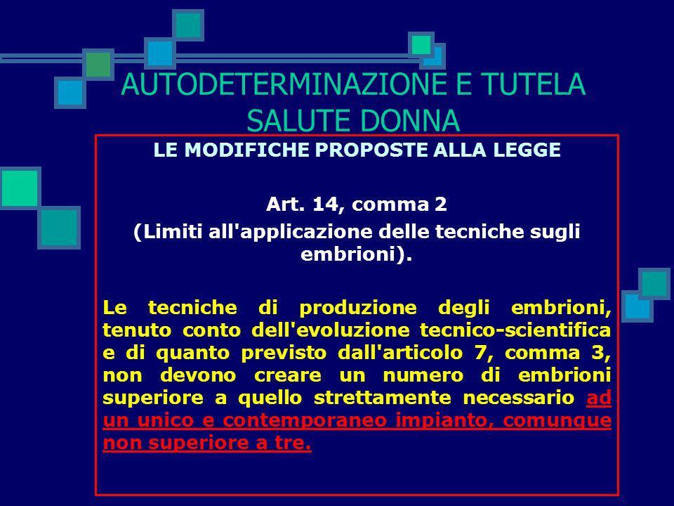 AUTODETERMINAZIONE E TUTELA SALUTE DONNA LE MODIFICHE PROPOSTE ALLA LEGGE Art. 13, comma 3, lettera b) (Sperimentazione sugli embrioni umani). Sono, c
