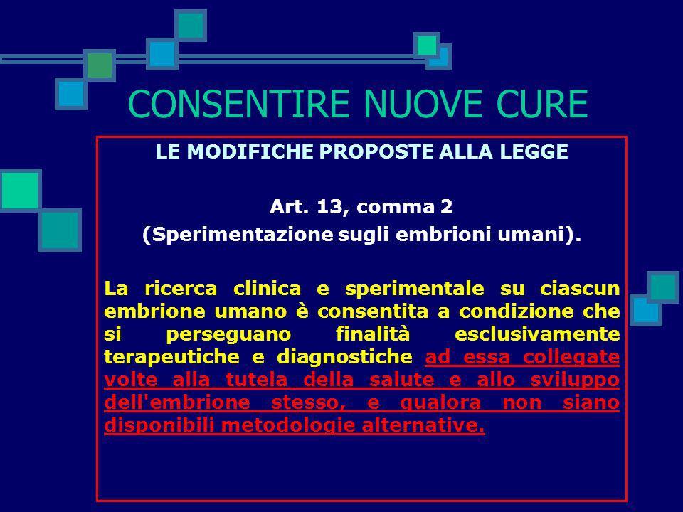 CONSENTIRE NUOVE CURE LE MODIFICHE PROPOSTE ALLA LEGGE Art. 12, comma 7 (Divieti generali e sanzioni). Chiunque realizza un processo volto ad ottenere