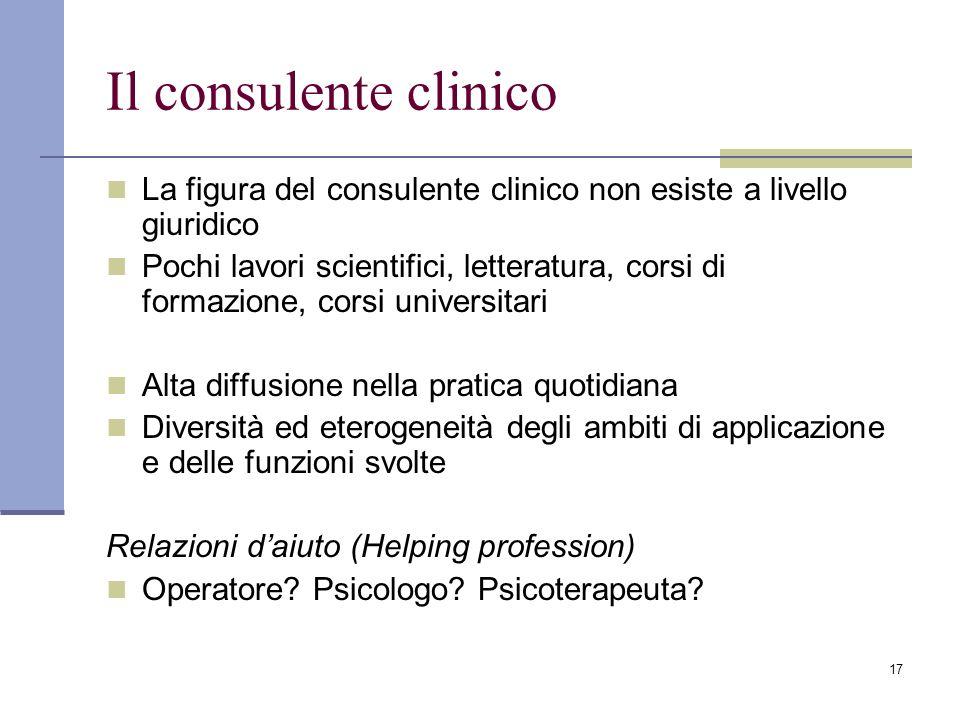 17 Il consulente clinico La figura del consulente clinico non esiste a livello giuridico Pochi lavori scientifici, letteratura, corsi di formazione, c